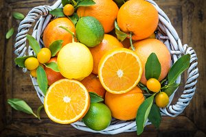 Citrus fruits in basket.