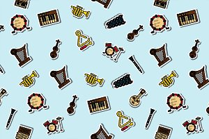 Colored musical instruments pattern