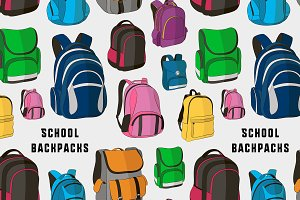 Colored school backpacks set pattern