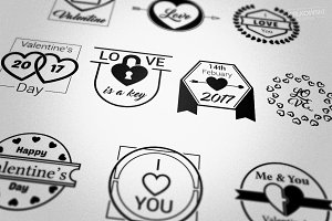Valentine's Day Love Badges Logos