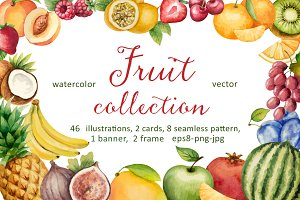Watercolor fruit collection.