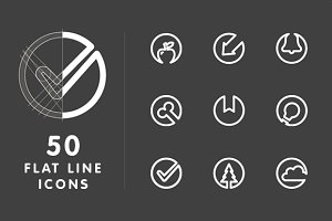 50 Flat Line Icons