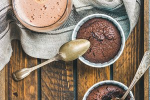 Chocolate souffle in baking cups