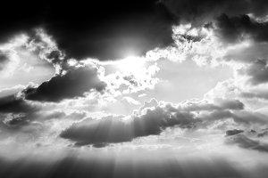 Dramatic sky with sun ray