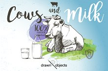 Cows and Milk. Hand drawn Vector set