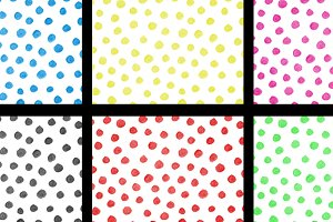 Watercolor polka dots patterns