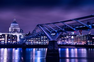 Millennium Bridge in London at night