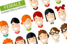 Happy Female Character Icons