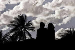 Couple Silhouette Watching the View