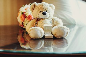 Wedding rings behind a toy bear