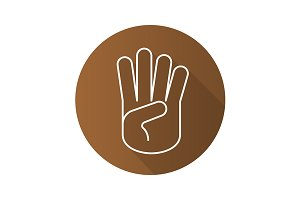 Four fingers up hand gesture. Vector