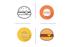 Hamburger. 4 icons. Vector