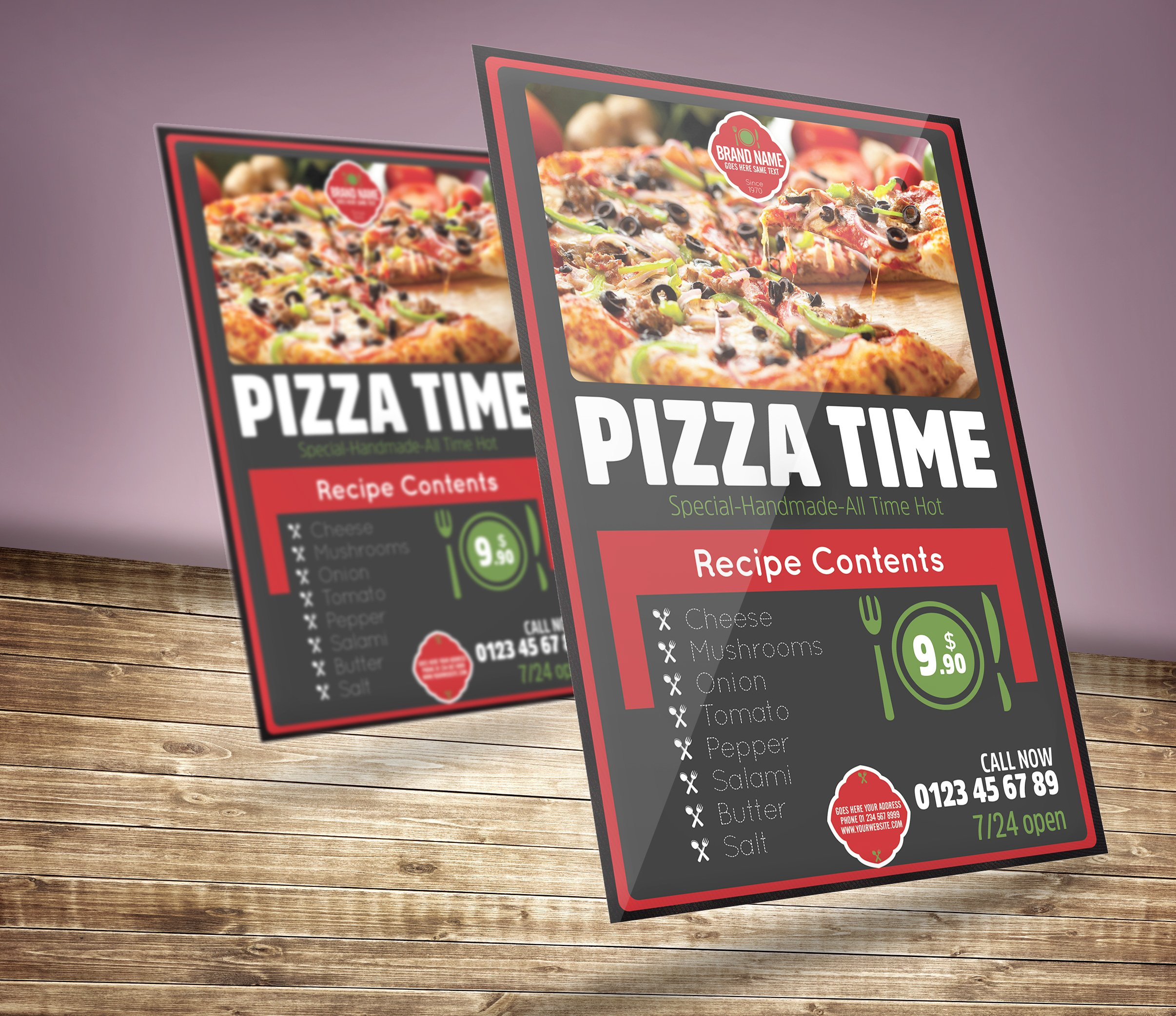 restaurant pizza flyer flyer templates creative market. Black Bedroom Furniture Sets. Home Design Ideas