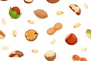 Seamless pattern with nuts vector