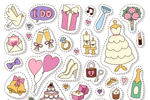 Wedding cartoon patches vector