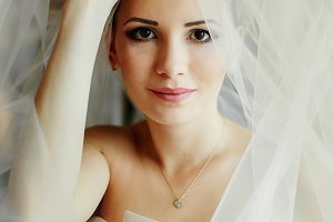 Pretty brunette bride under a veil
