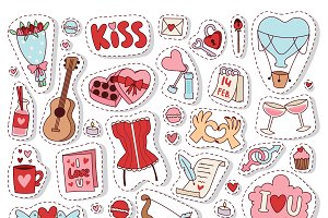 Valentine Day patches icons vector