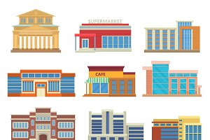 Set of commercial buildings vector