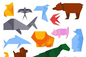Origami style animals vector