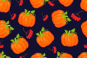 Orange pumpkins vector pattern
