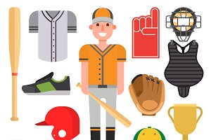 Cartoon baseball player icons