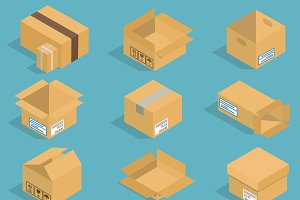Isometric moving box vector