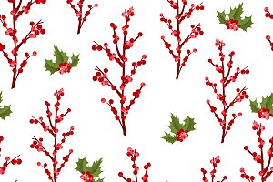 Christmas berry flower pattern