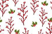 Christmas berry flower pattern