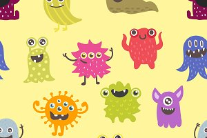 Cute monsters vector pattern