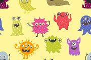 Cute monsters vector pattern