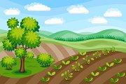 Spring Farm Rural Landscape