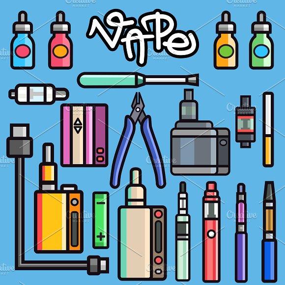 Vape device vector set
