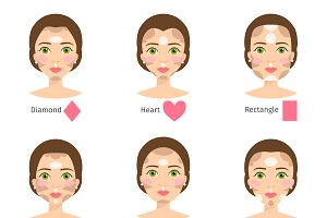 Set of different woman face types