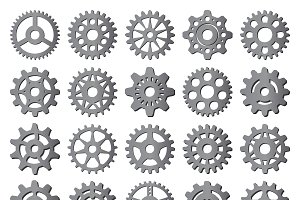 Gear icons isolated vector