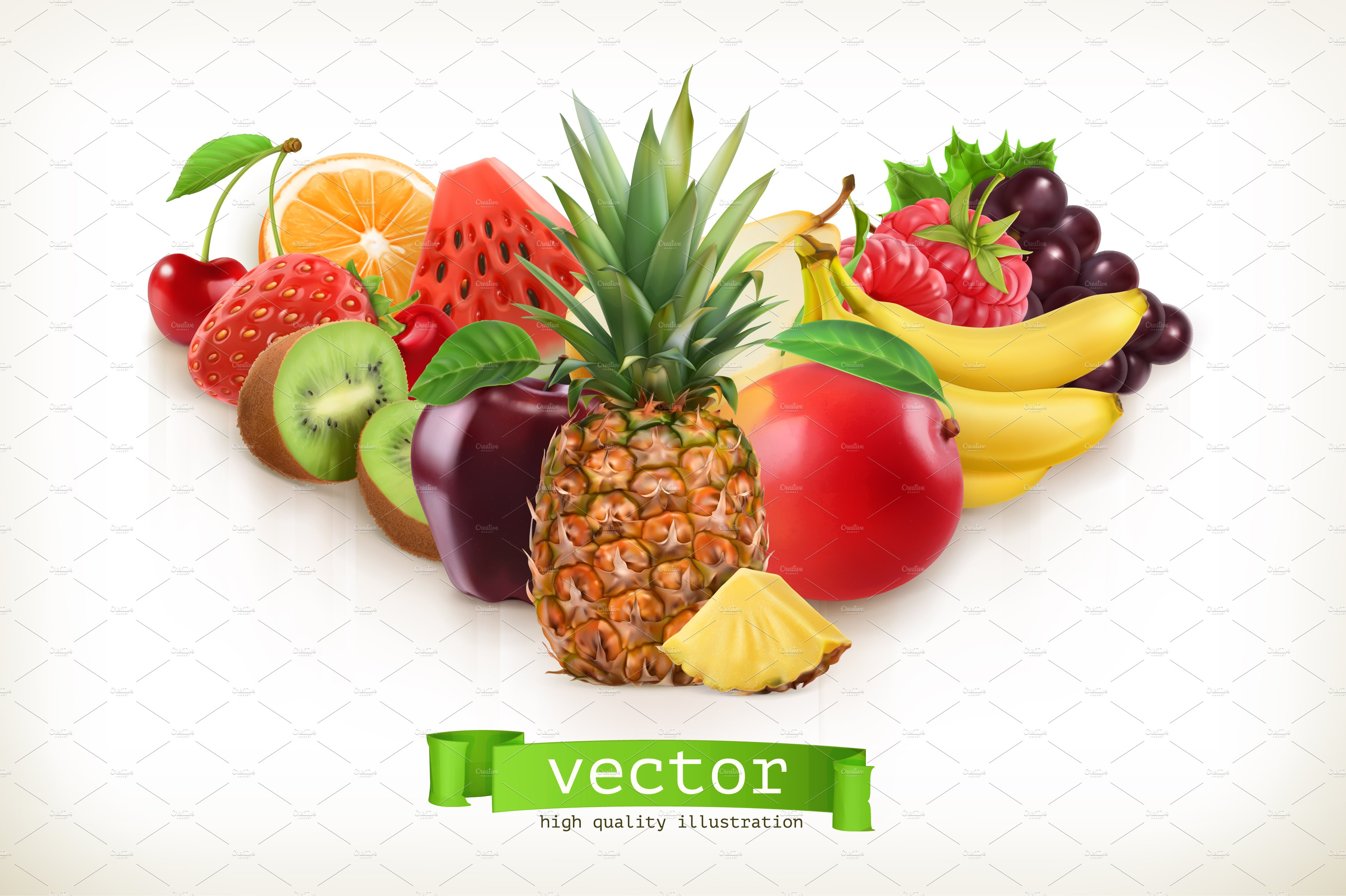 pineapple and juicy fruits vector illustrations creative market