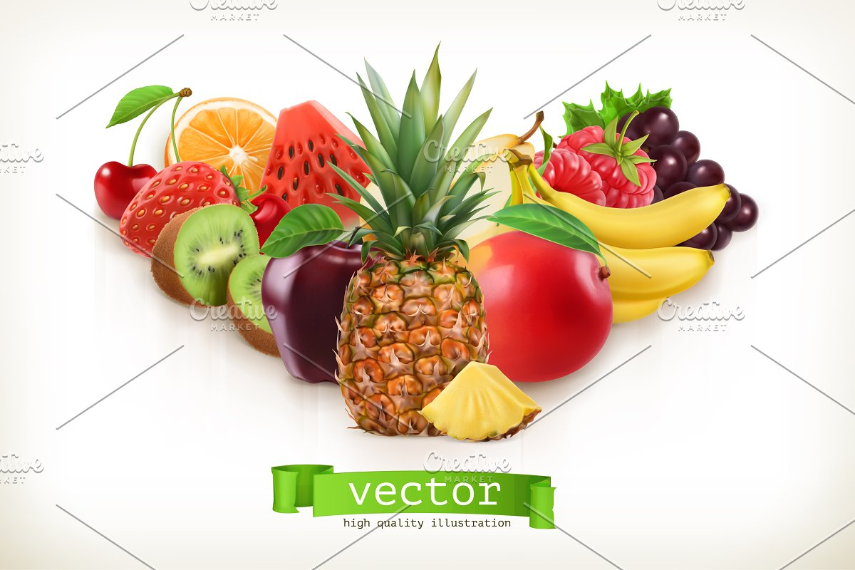 Pineapple and juicy fruits, vector in Illustrations - product preview 8