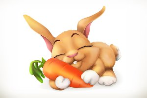 Rabbit and carrot, 3d vector icon