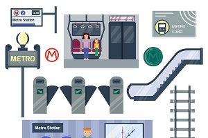 Metro station vector set