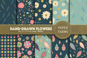 Hand-drawn flowers digital paper