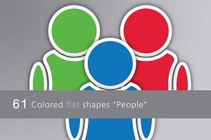 "61 Colored flat icons ""People"""