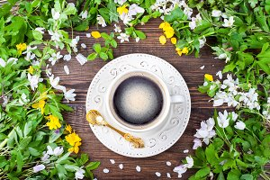 Coffee cup and spring flowers