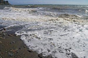 Strong surf on sandy beach