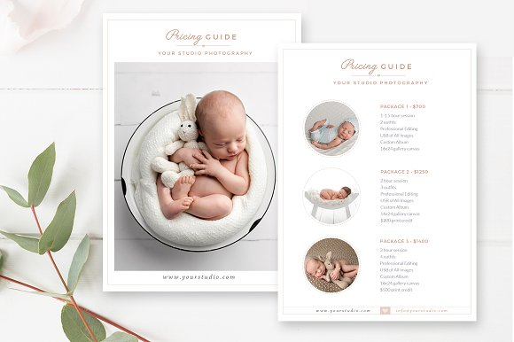 Newborn pricing guide template flyer templates creative market