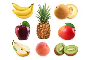 Sweet fruits. 3D vector icons set