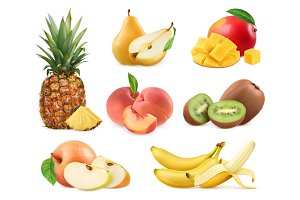 Sweet fruit. 3d vector icons set