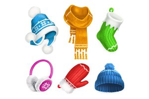 Winter clothes. 3d vector icon set