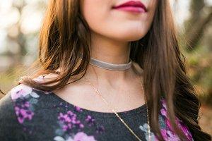 Girl Wearing Cute Choker Necklace