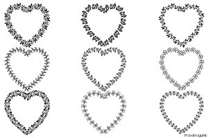 Heart shaped wreath borders set