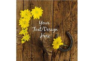 Rustic Yellow Daisies and Horseshoe