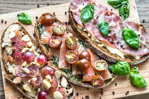 Bruschetta with different toppings